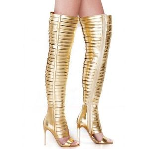 Jeffrey Campbell Gold Blinded Thigh High Boots